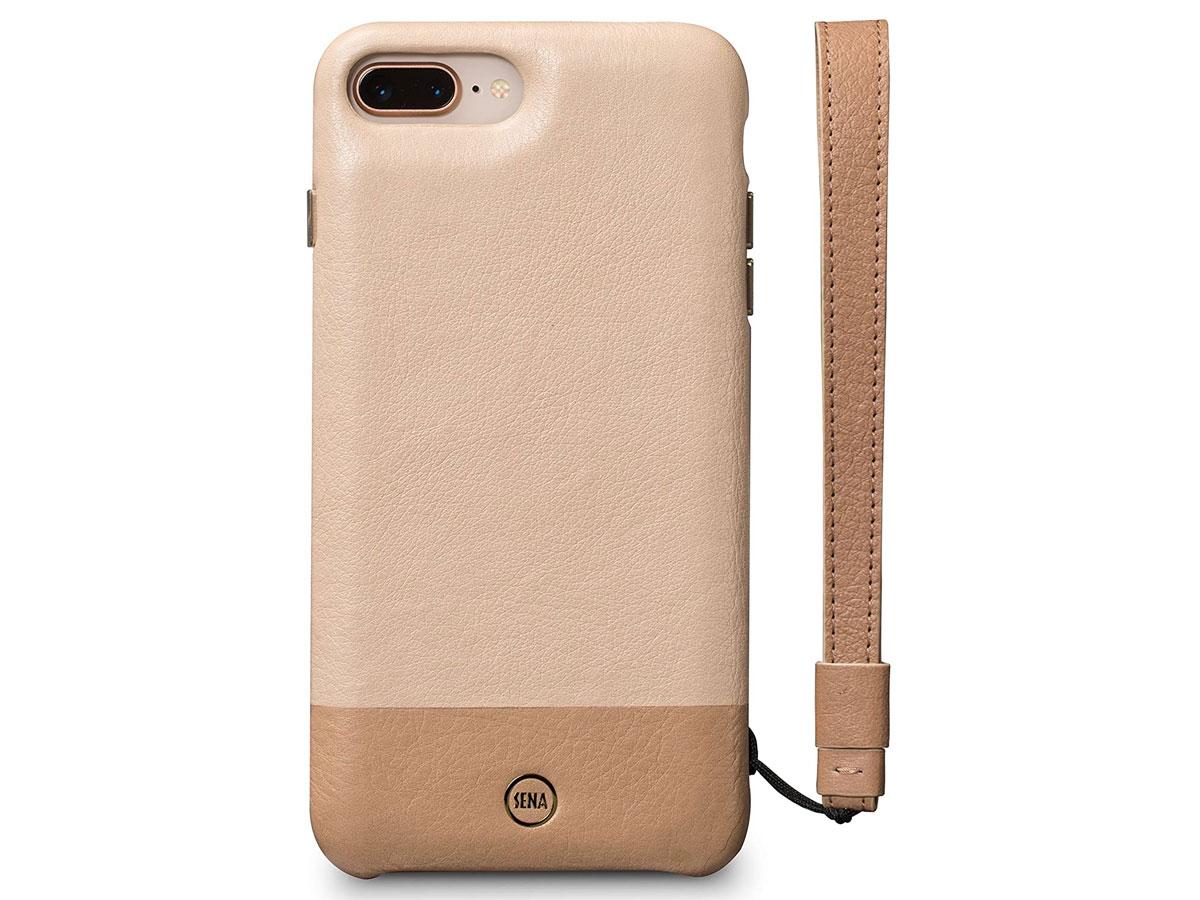 Sena Leather Wristlet Case Beige - iPhone 8+/7+ Hoesje