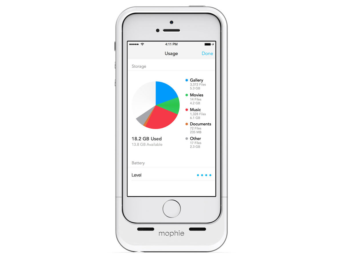 Mophie Space Pack 32GB - iPhone SE/5s/5 hoesje (Wit)