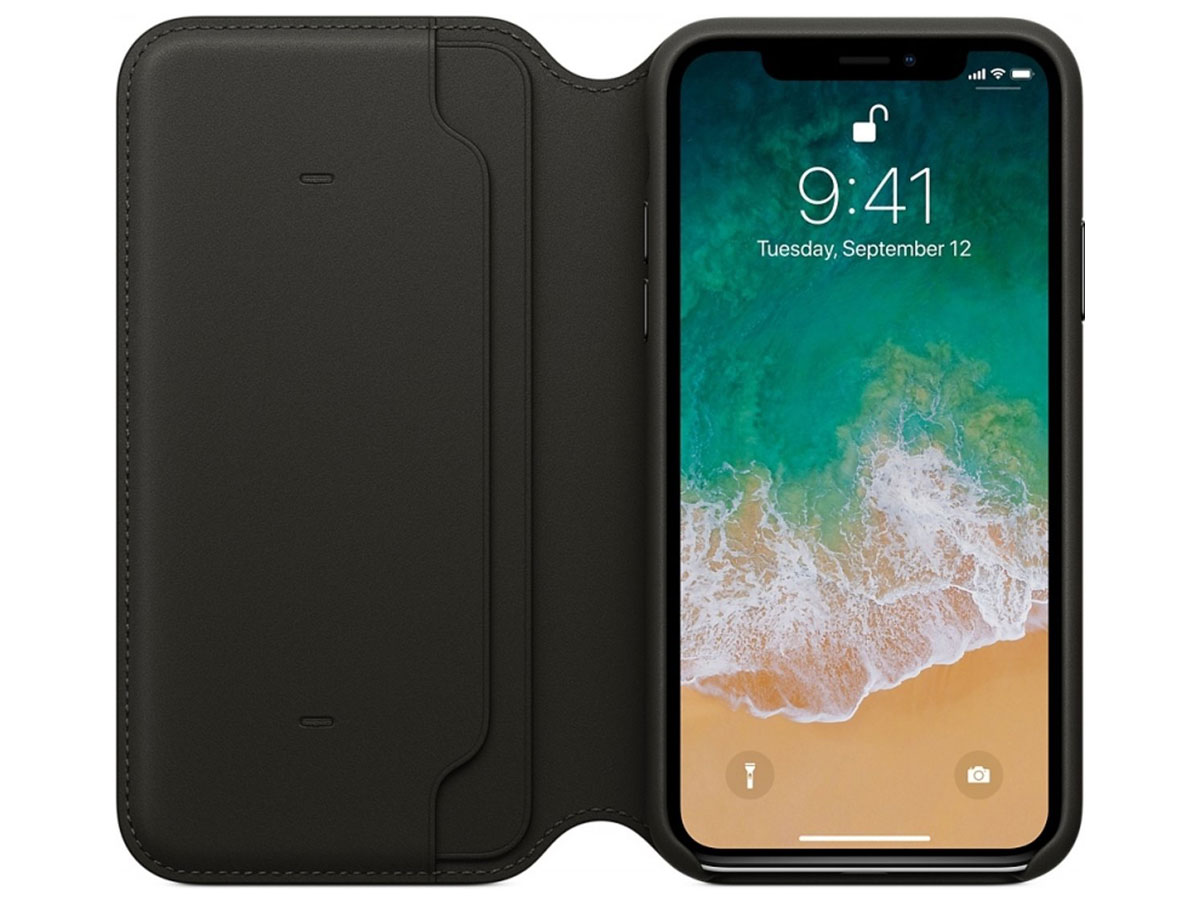 Apple Leather Folio Case - Origineel iPhone X hoesje