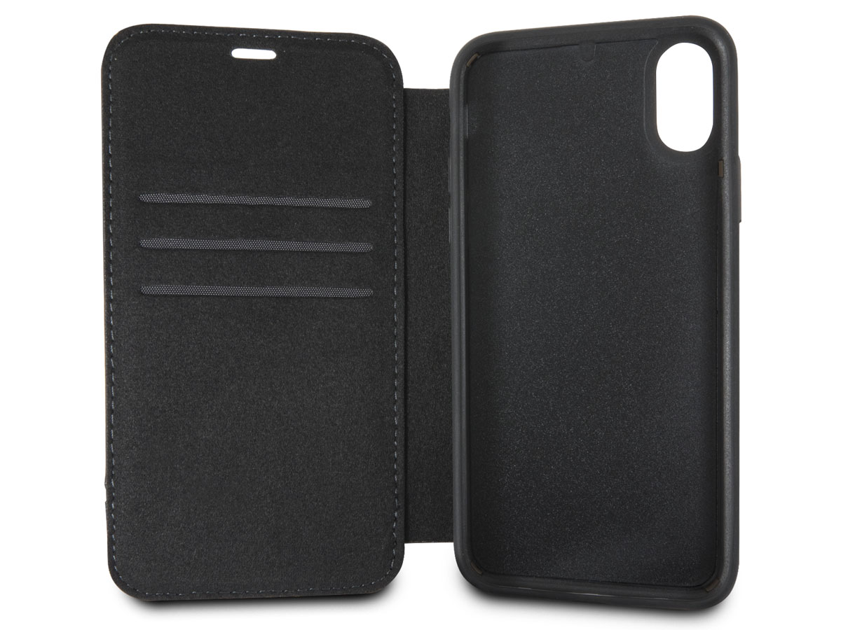 BMW Leather Bookcase Zwart - iPhone X hoesje