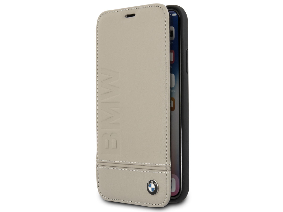 BMW Logo Leather Folio Beige Leer - iPhone X/Xs hoesje