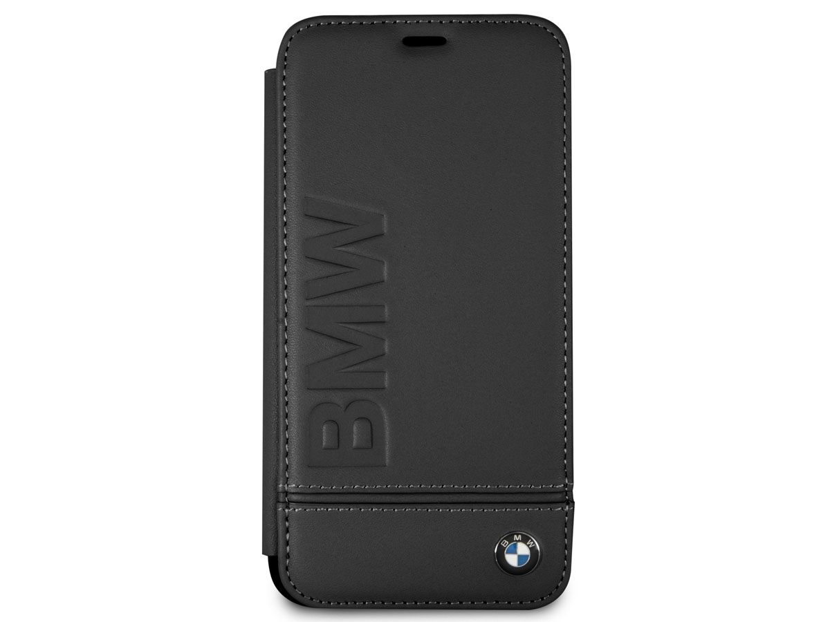 BMW Logo Leather Folio Zwart Leer - iPhone X/Xs hoesje