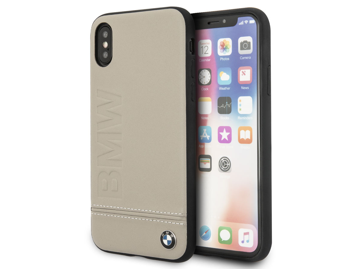 BMW Logo Leather Case Taupe - Leren iPhone X hoesje