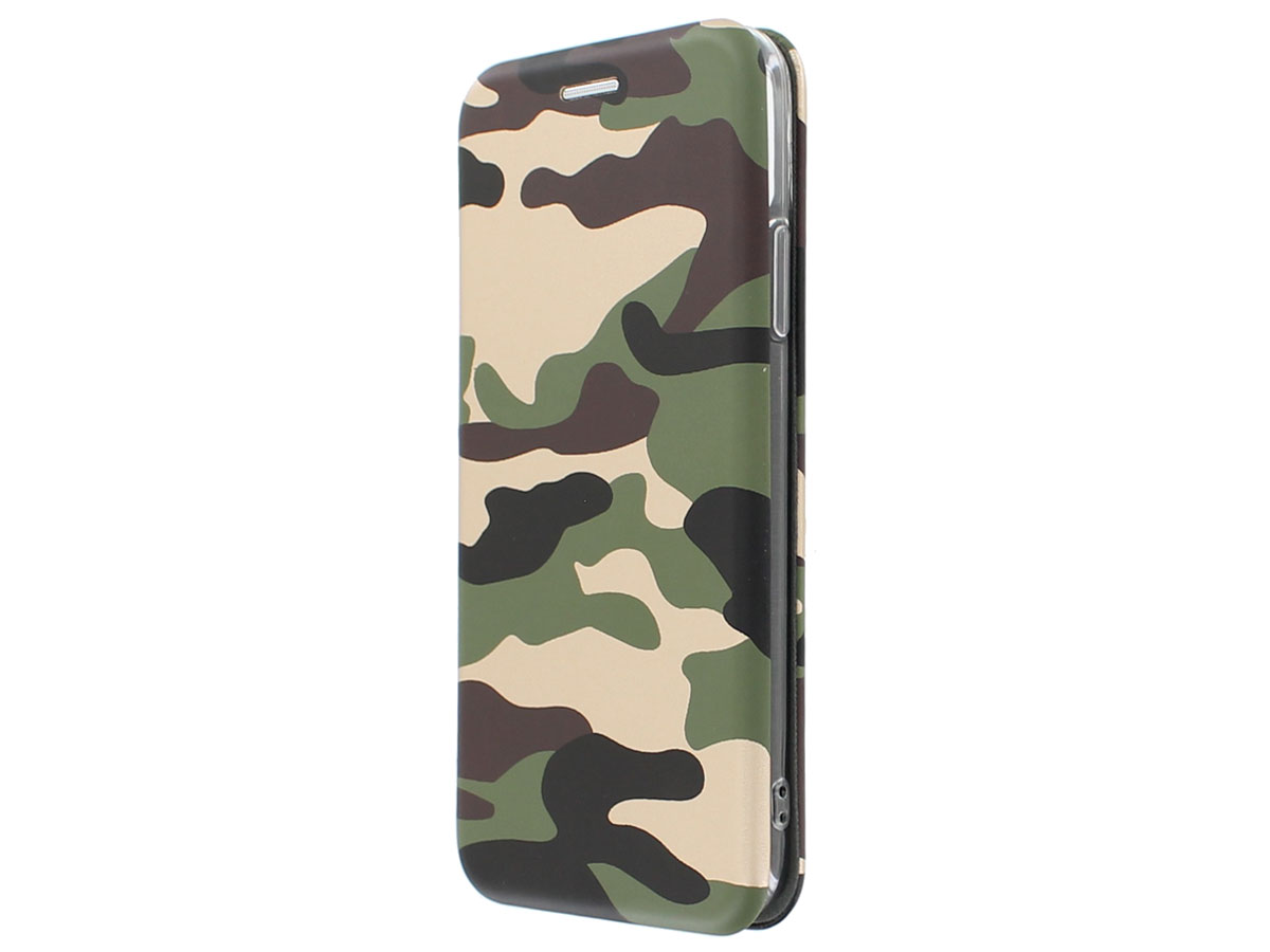 Slim Elegant Bookcase Gold Camo - iPhone X hoesje