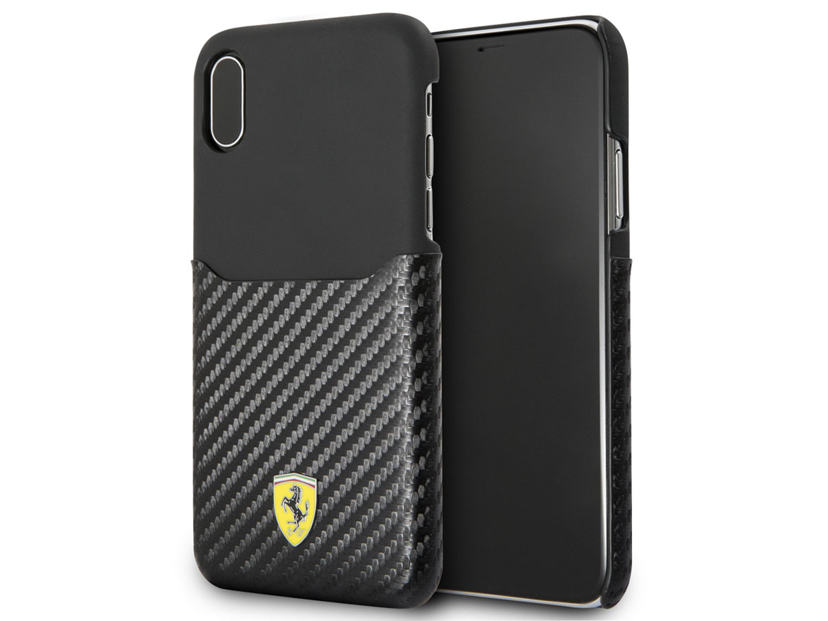 Ferrari Carbon Card Case - iPhone X hoesje
