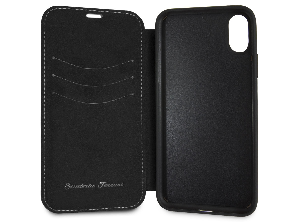 Ferrari Heritage Stitch Book Zwart - iPhone X/Xs hoesje
