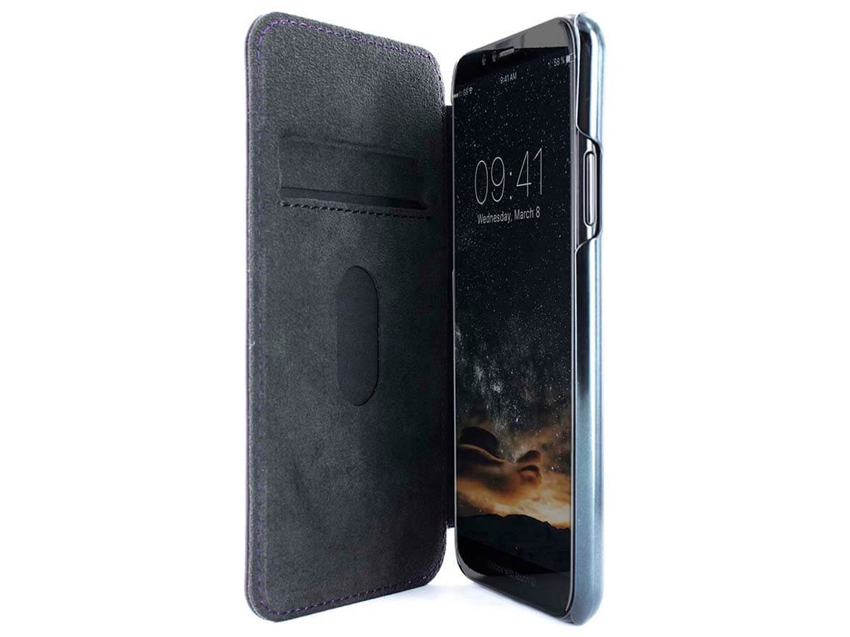 Greenwich Blake Damson/Black - Leren iPhone X hoesje