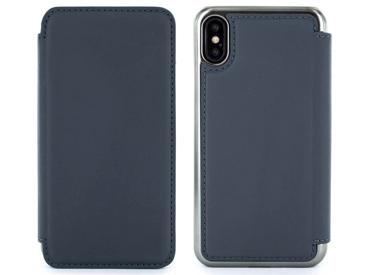 Greenwich Blake Seal/Gunmetal - Leren iPhone X hoesje