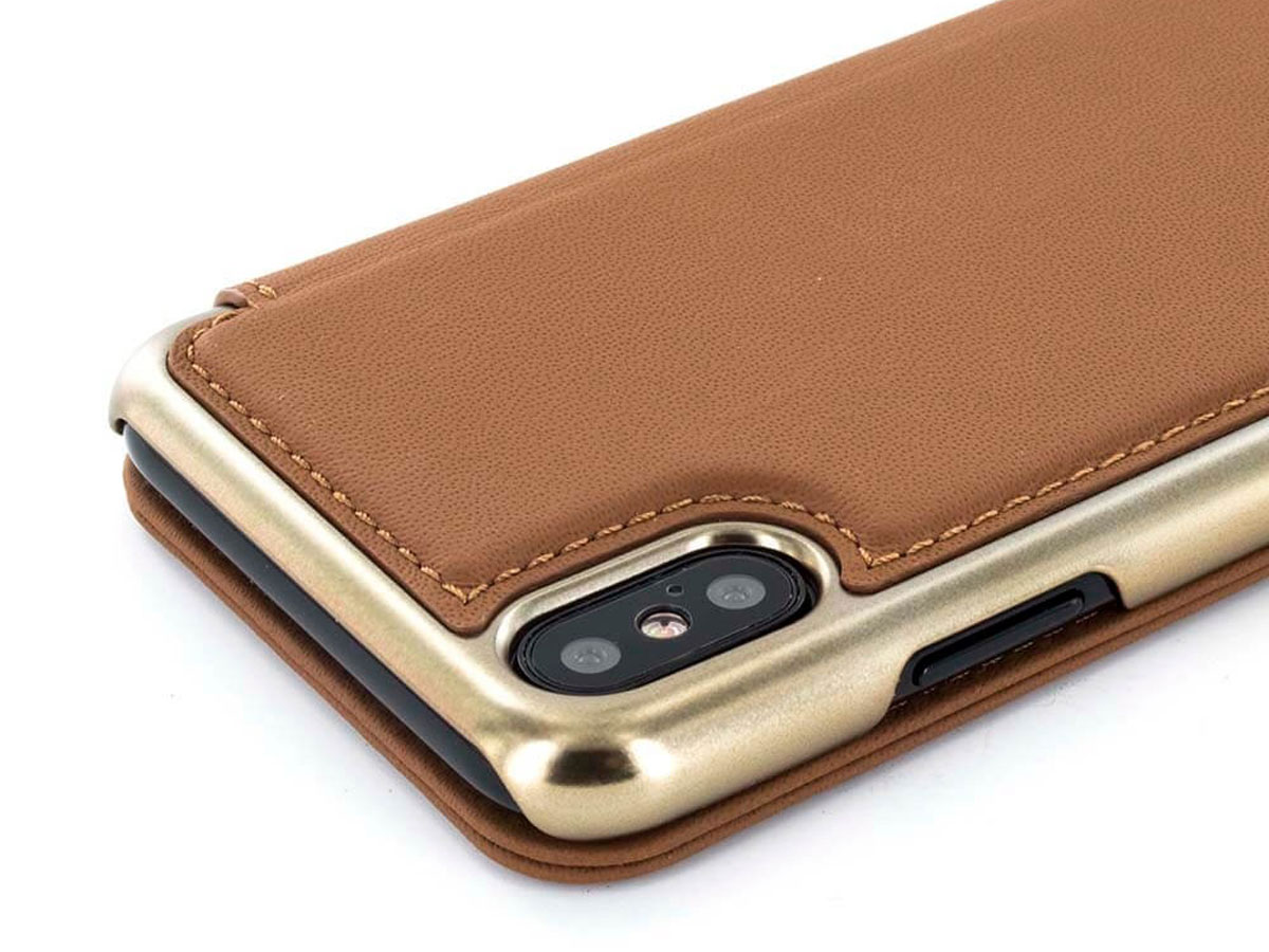 Greenwich Horo Saddle/Gold - Leren iPhone X hoesje