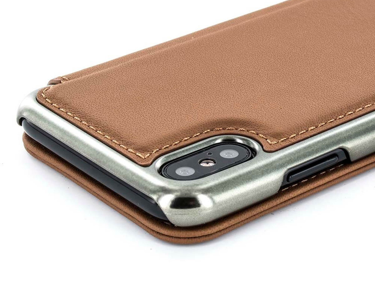 Greenwich Horo Saddle/Gunmetal - Leren iPhone X hoesje