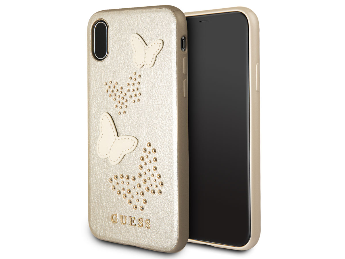 Guess Butterfly Studs Soft Case Goud - iPhone X/Xs hoesje