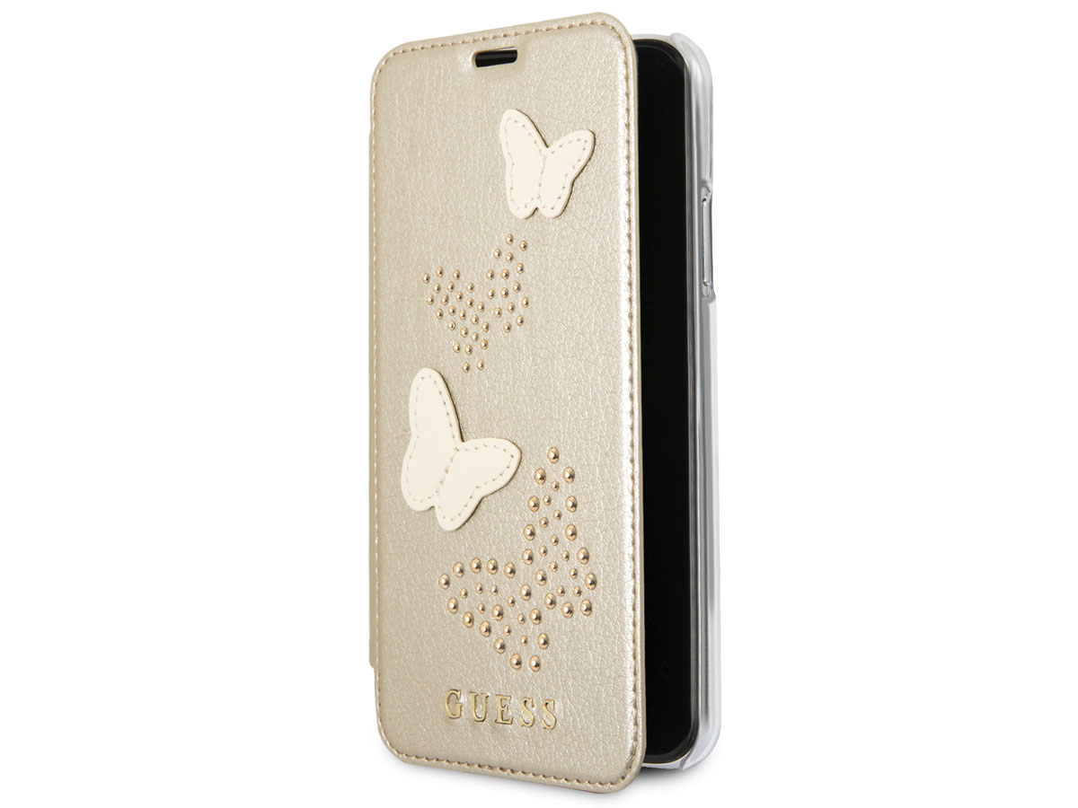 Guess Butterfly Studs Bookcase Goud - iPhone X/Xs hoesje