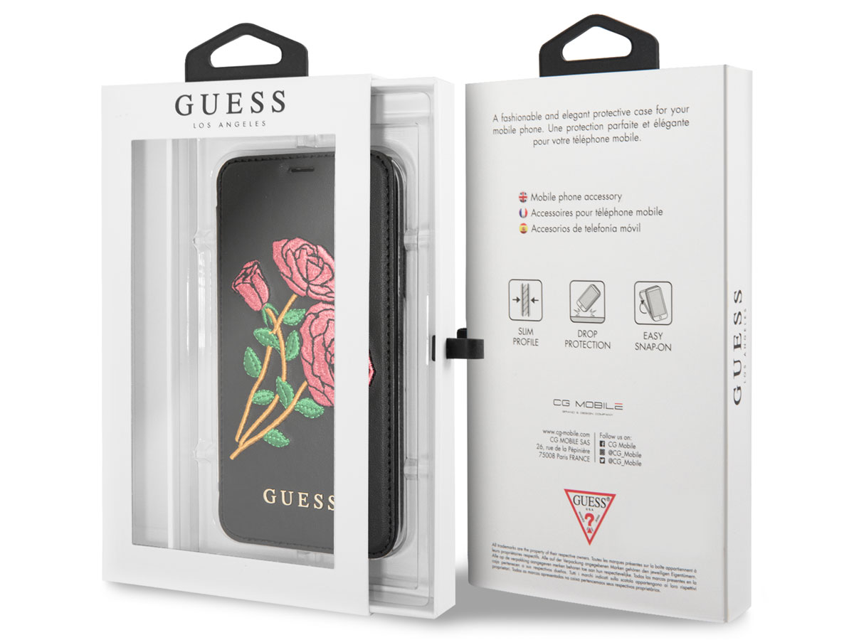 Guess Embroidered Rose Bookcase - iPhone X/Xs hoesje