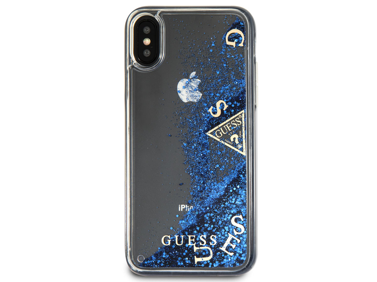Guess Floating Logo Case Blauw - iPhone X hoesje