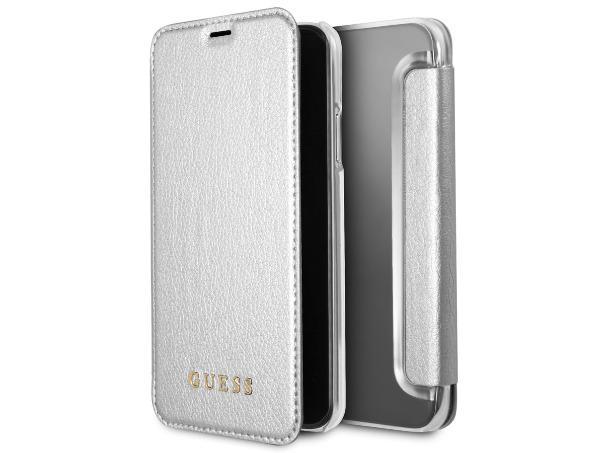 reputable site 9a960 57a0e Guess Iridescent Bookcase Zilver - iPhone X/Xs hoesje