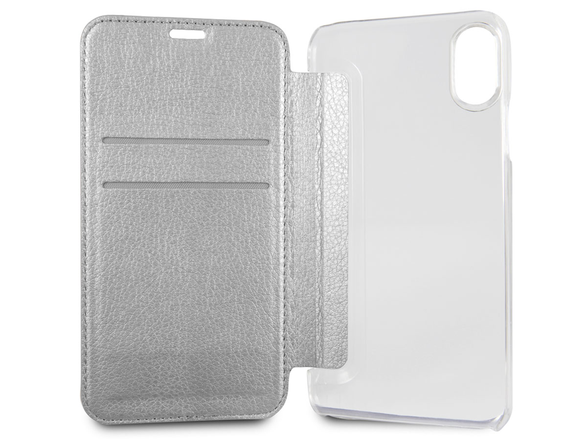 Guess Iridescent Bookcase Zilver - iPhone X hoesje