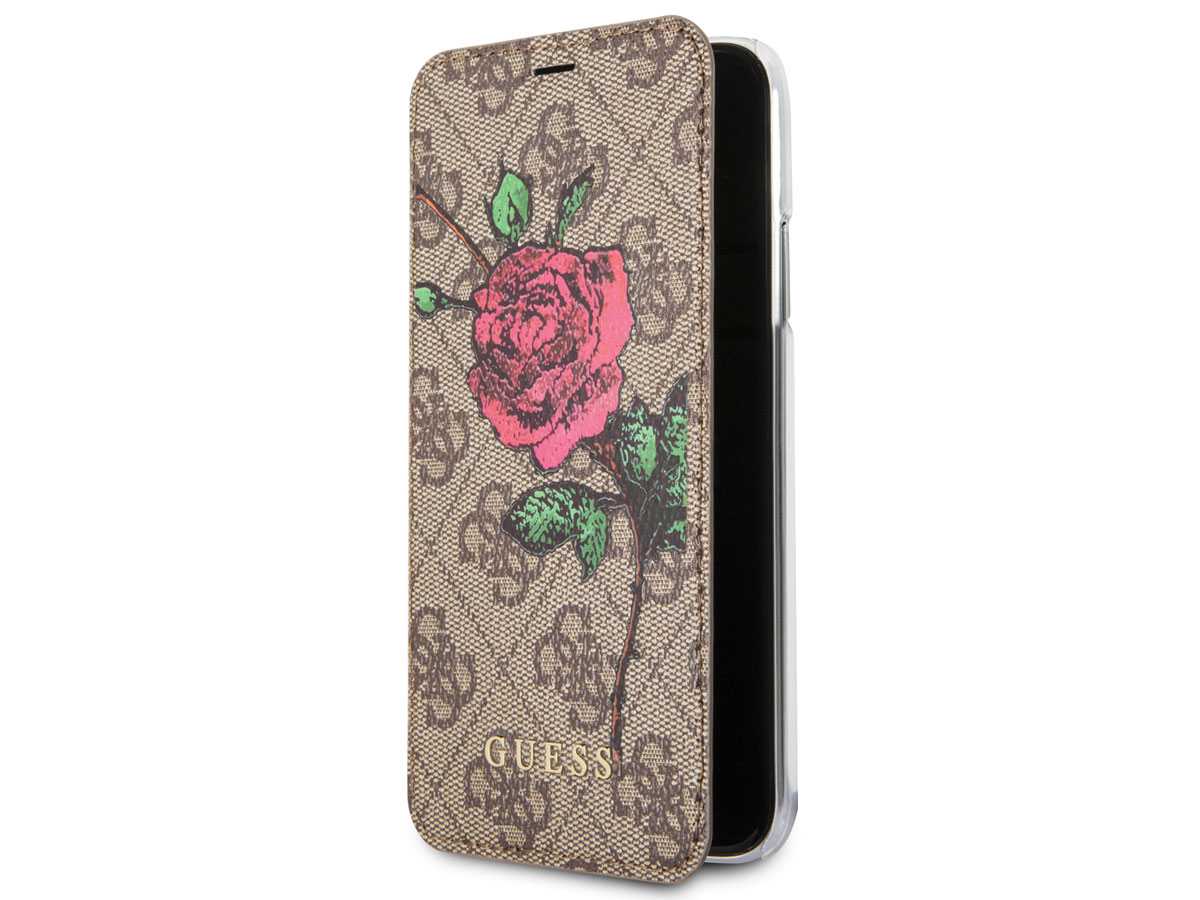 Guess Monogram Rose Book Bruin - iPhone 8/7/6 hoesje
