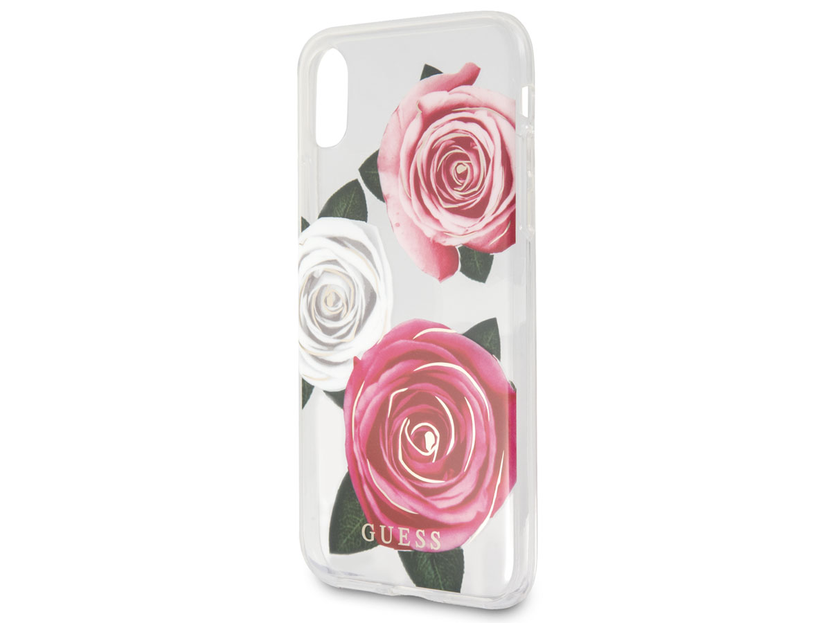 Guess Pink Roses TPU Skin - iPhone X/Xs hoesje