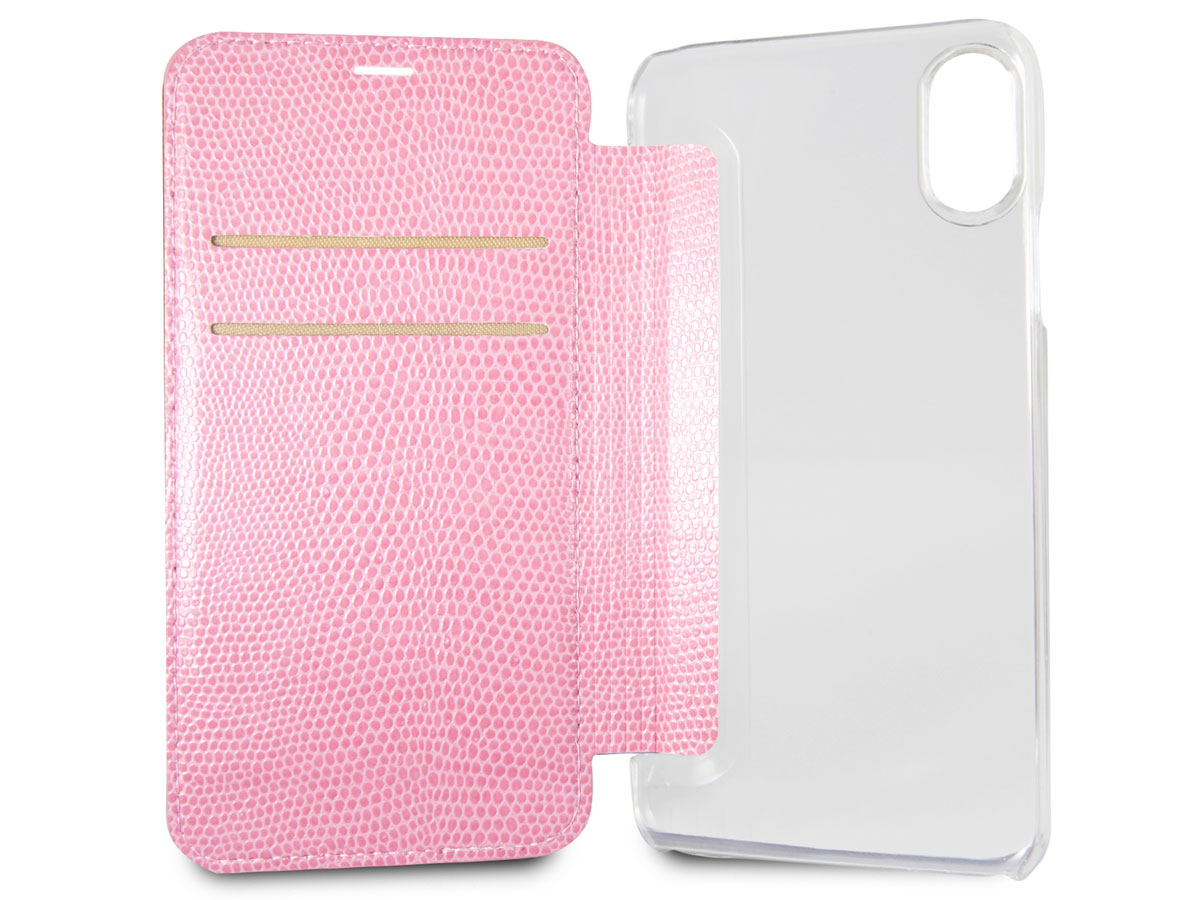 Guess Python Bookcase Roze - iPhone X/Xs hoesje