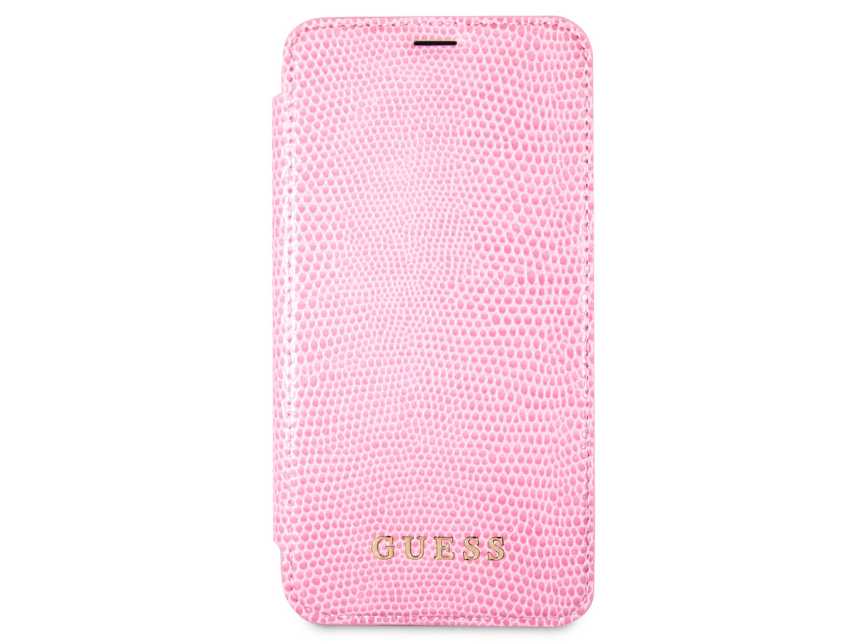 Guess Python Bookcase Roze - iPhone X hoesje