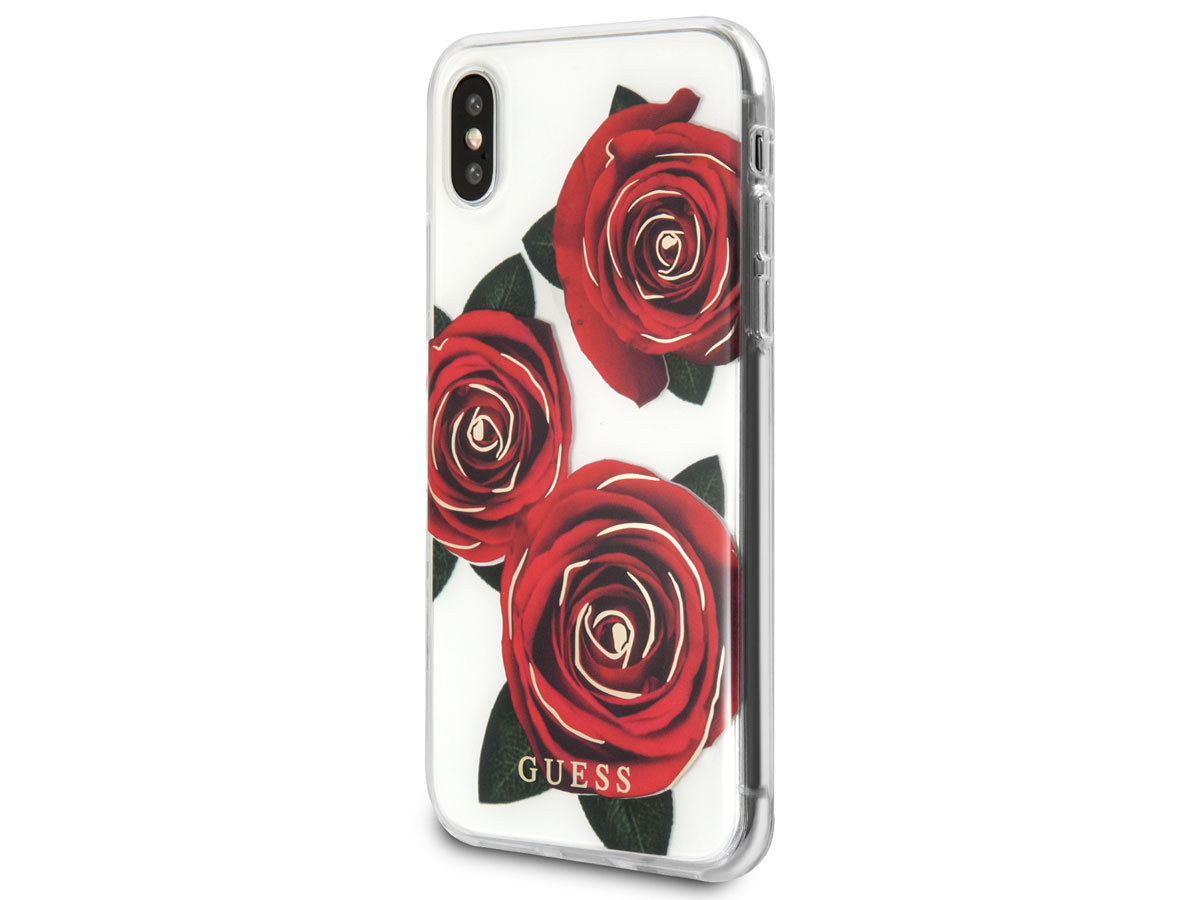 Guess Red Roses TPU Skin - iPhone X/Xs hoesje