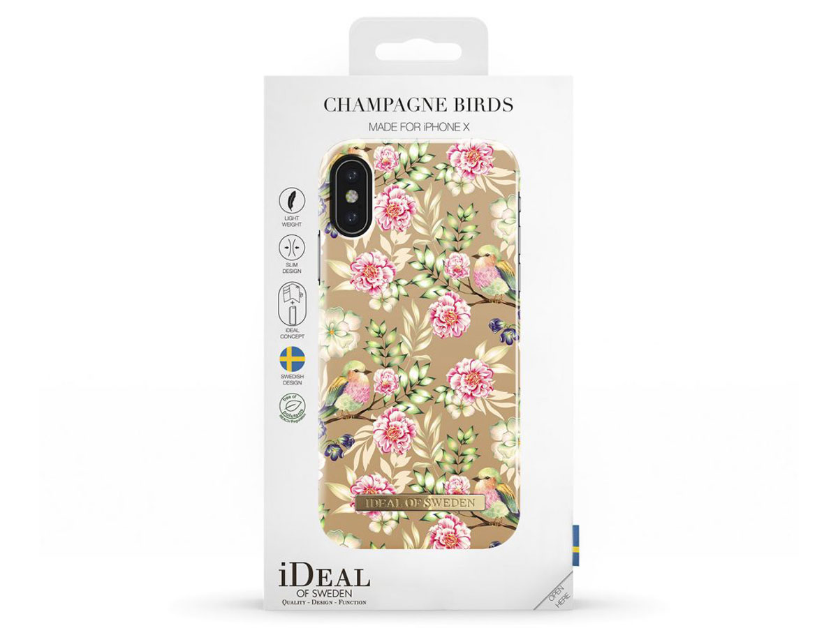 iDeal of Sweden Case Champagne Birds - iPhone X hoesje