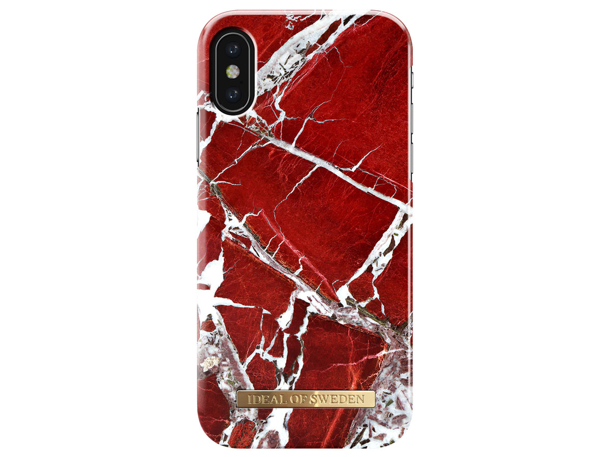 iDeal of Sweden Case Scarlet Red Marble - iPhone X/Xs hoesje