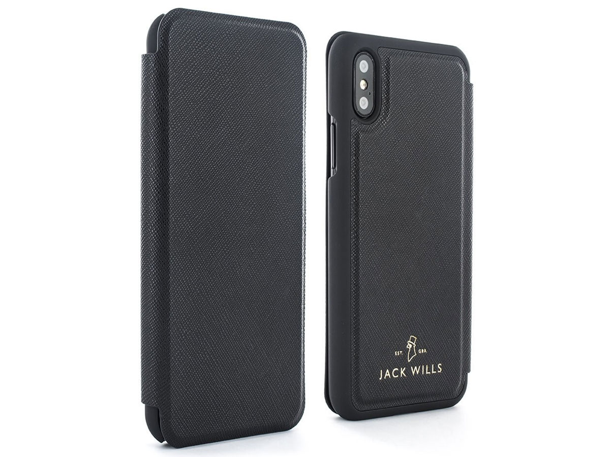 Jack Wills Bayles Folio Zwart - iPhone X Hoesje