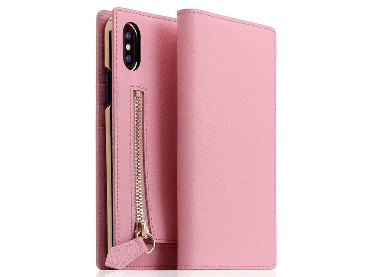 SLG Design D5 CSL Zipper Pink - Leren iPhone X/Xs hoesje Lichtroze