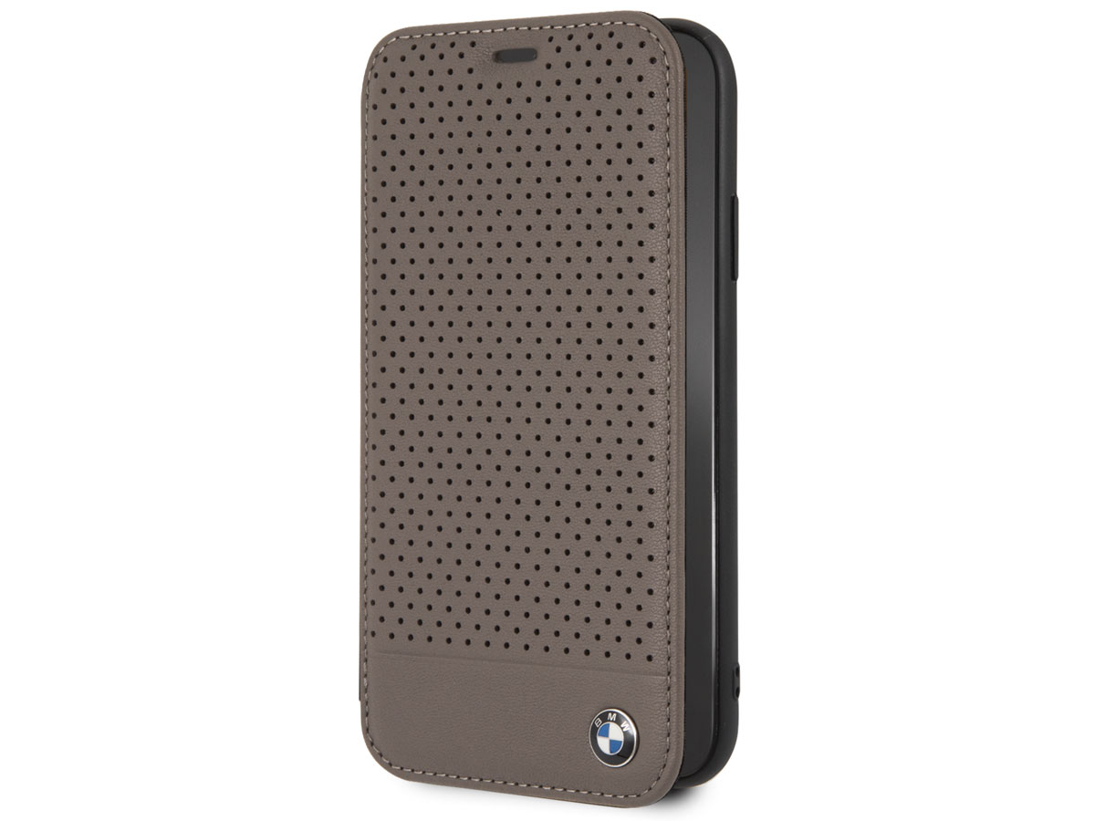 BMW Perforated Folio Bruin Leer - iPhone XR hoesje