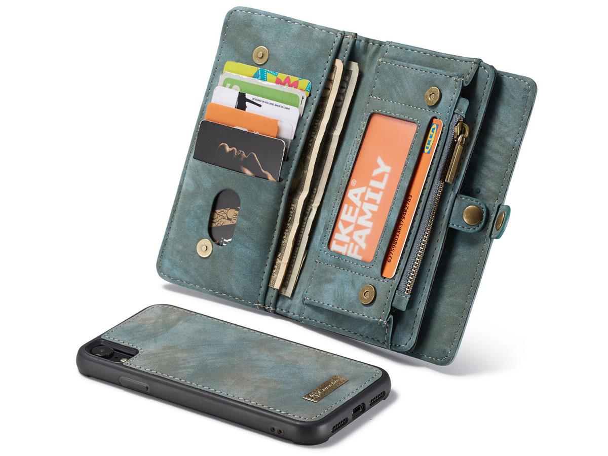 CaseMe 2in1 Wallet Ritsvak Case Blauw - iPhone XR Hoesje