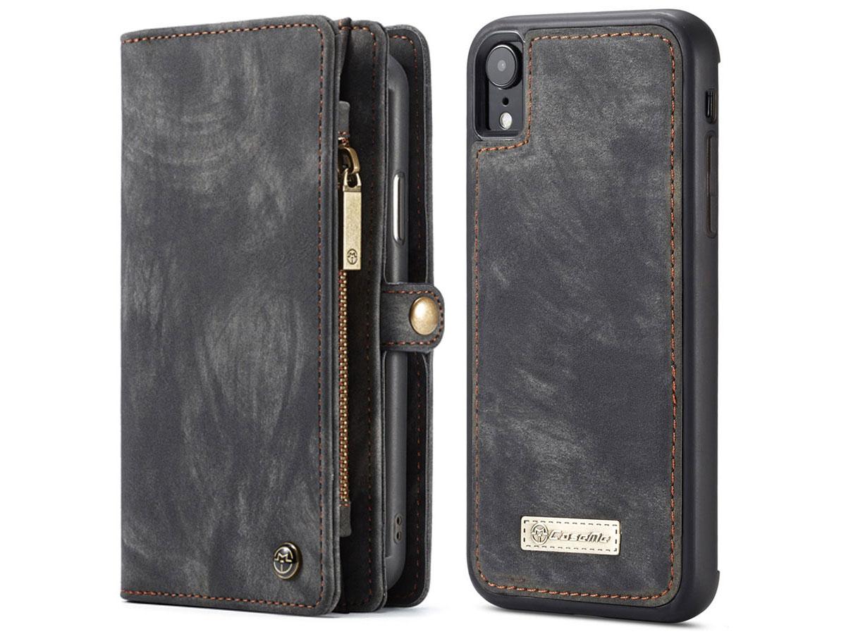 CaseMe 2in1 Wallet Ritsvak Case Zwart - iPhone XR Hoesje