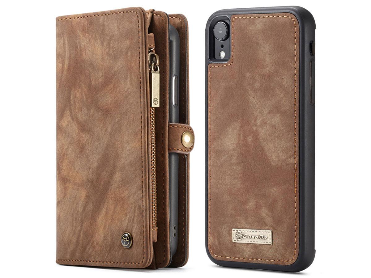 CaseMe 2in1 Wallet Ritsvak Case Bruin - iPhone XR Hoesje