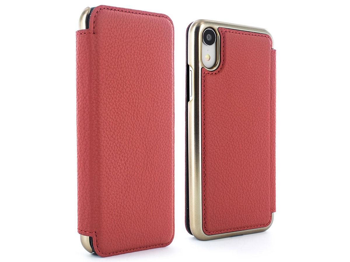 Greenwich Blake Folio Scarlet/Gold - Leren iPhone XR hoesje Rood