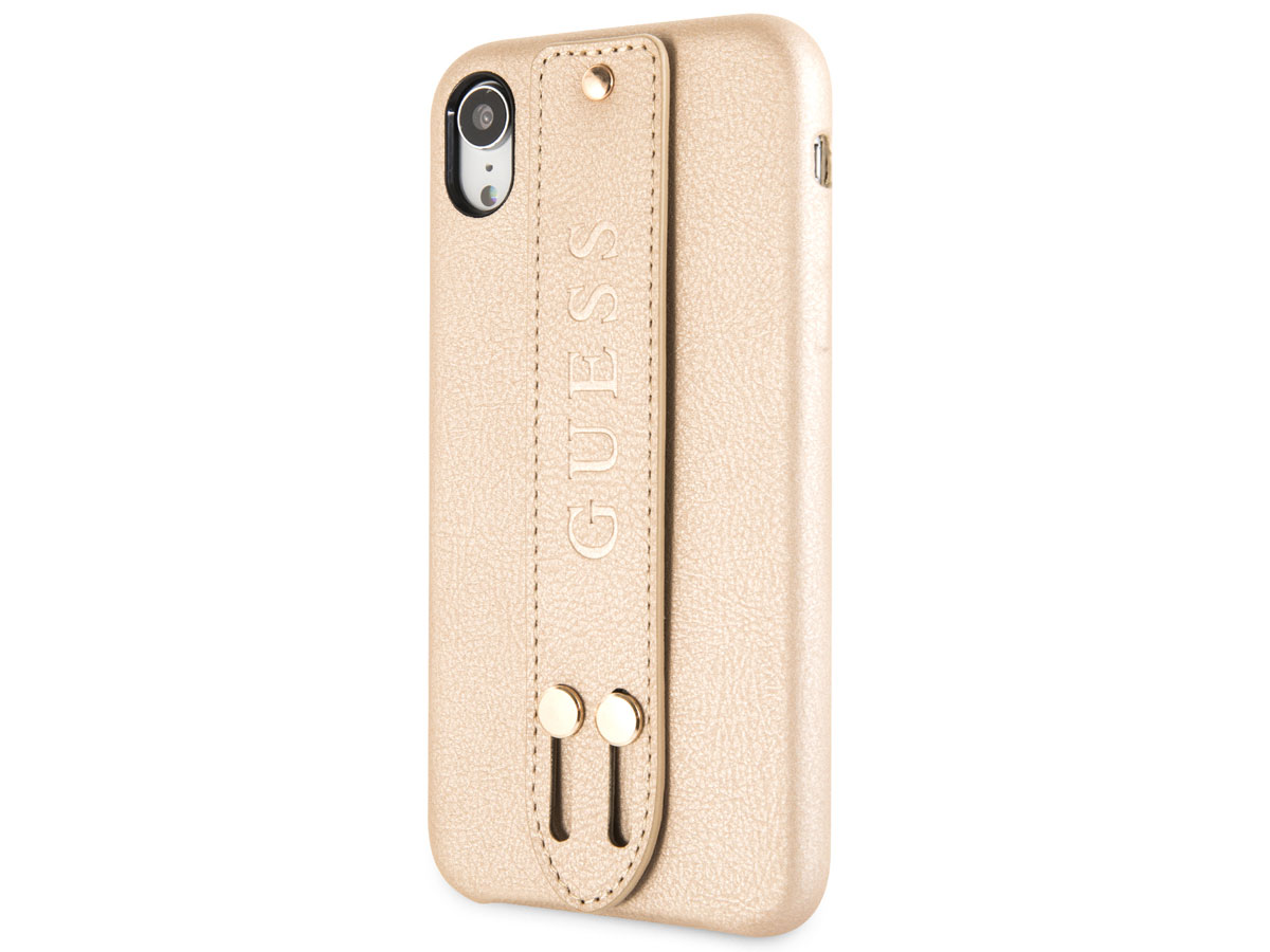 Guess Iridescent Strap Case Goud - iPhone XR hoesje