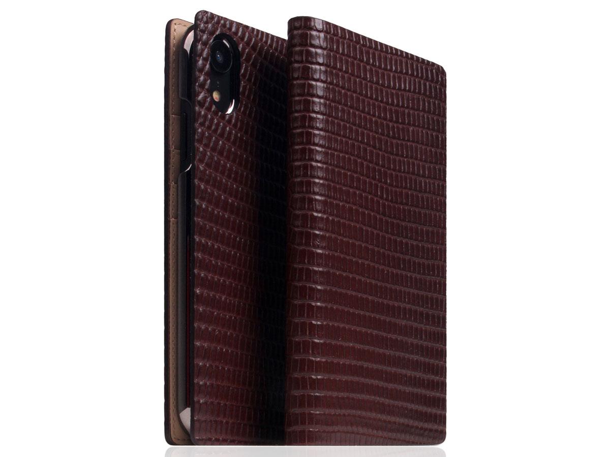 SLG Design D3 Lizard Bruin Leer - iPhone XR hoesje Donkerbruin