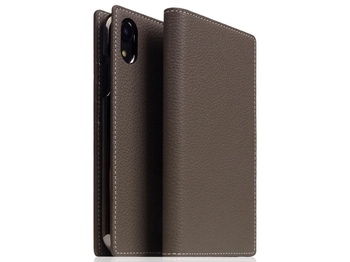 SLG Design D8 Folio Etoff Cream Leer - iPhone XR hoesje Taupe