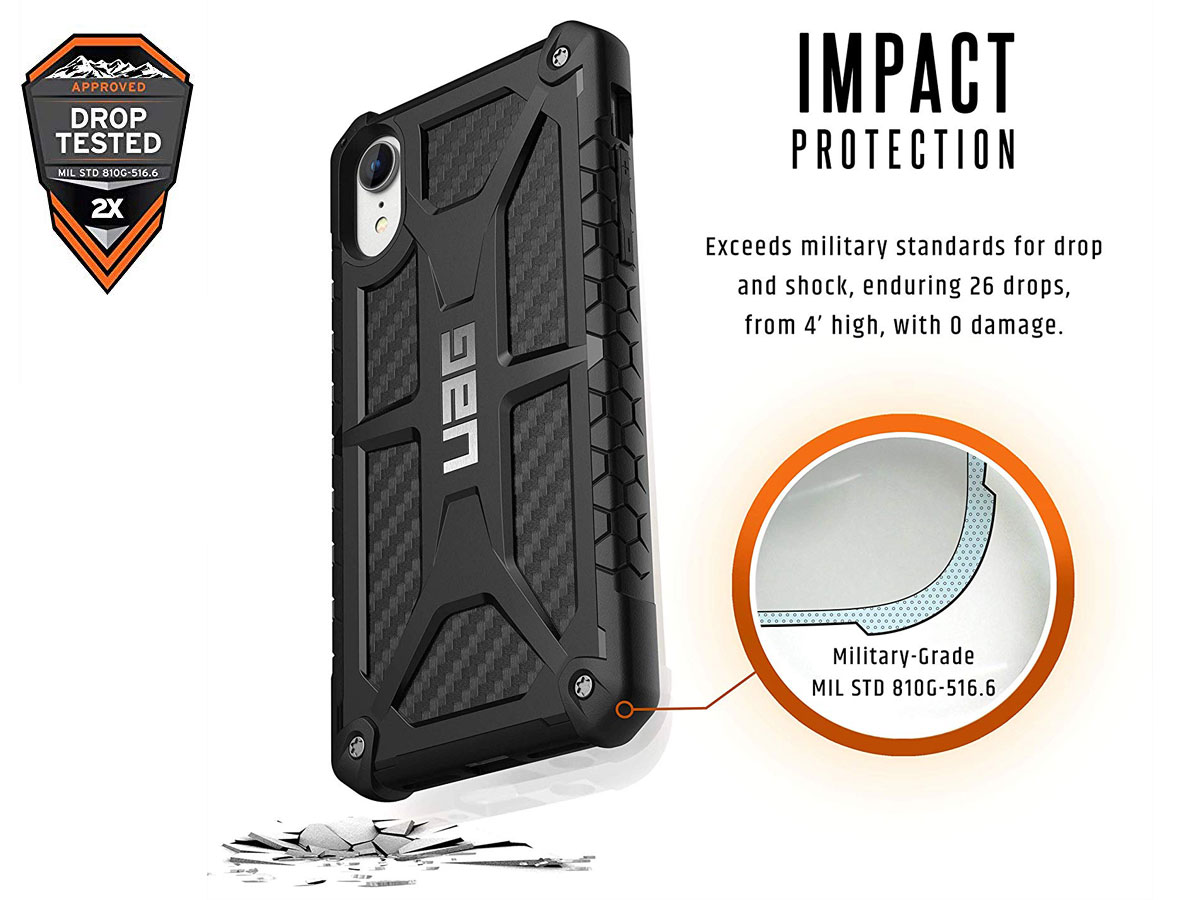 Urban Armor Gear Monarch Carbon - iPhone XR hoesje