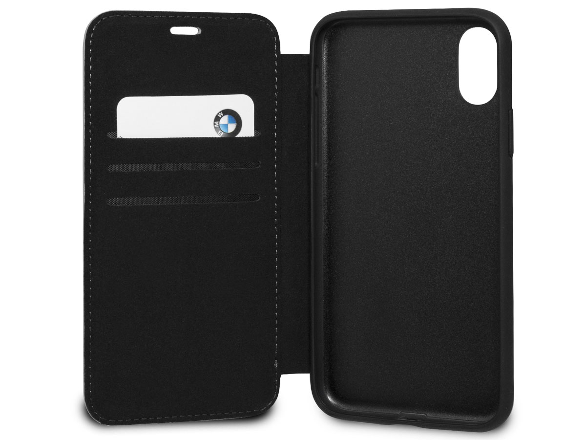 BMW Perforated Folio Zwart Leer - iPhone X/Xs hoesje