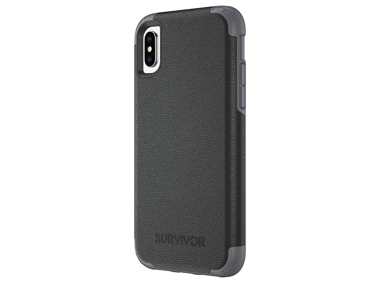 Griffin Survivor Prime Leather Case - iPhone X/Xs hoesje Zwart