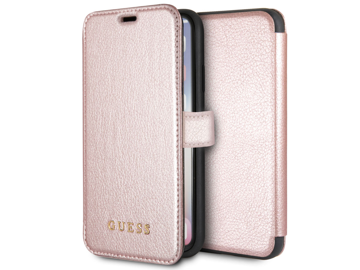 Guess Iridescent Bookcase Rosé Goud - iPhone X/Xs hoesje