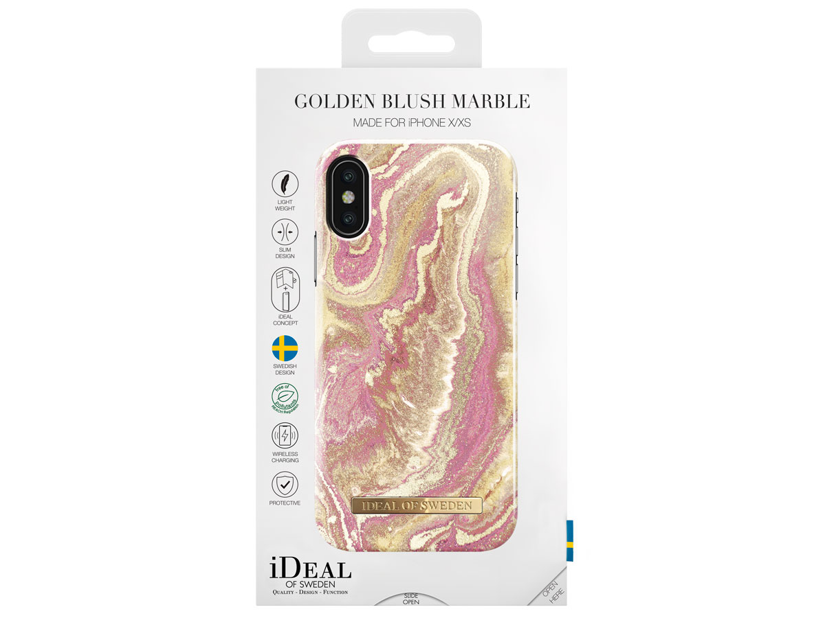 iDeal of Sweden Case Golden Blush Marble - iPhone X/Xs hoesje