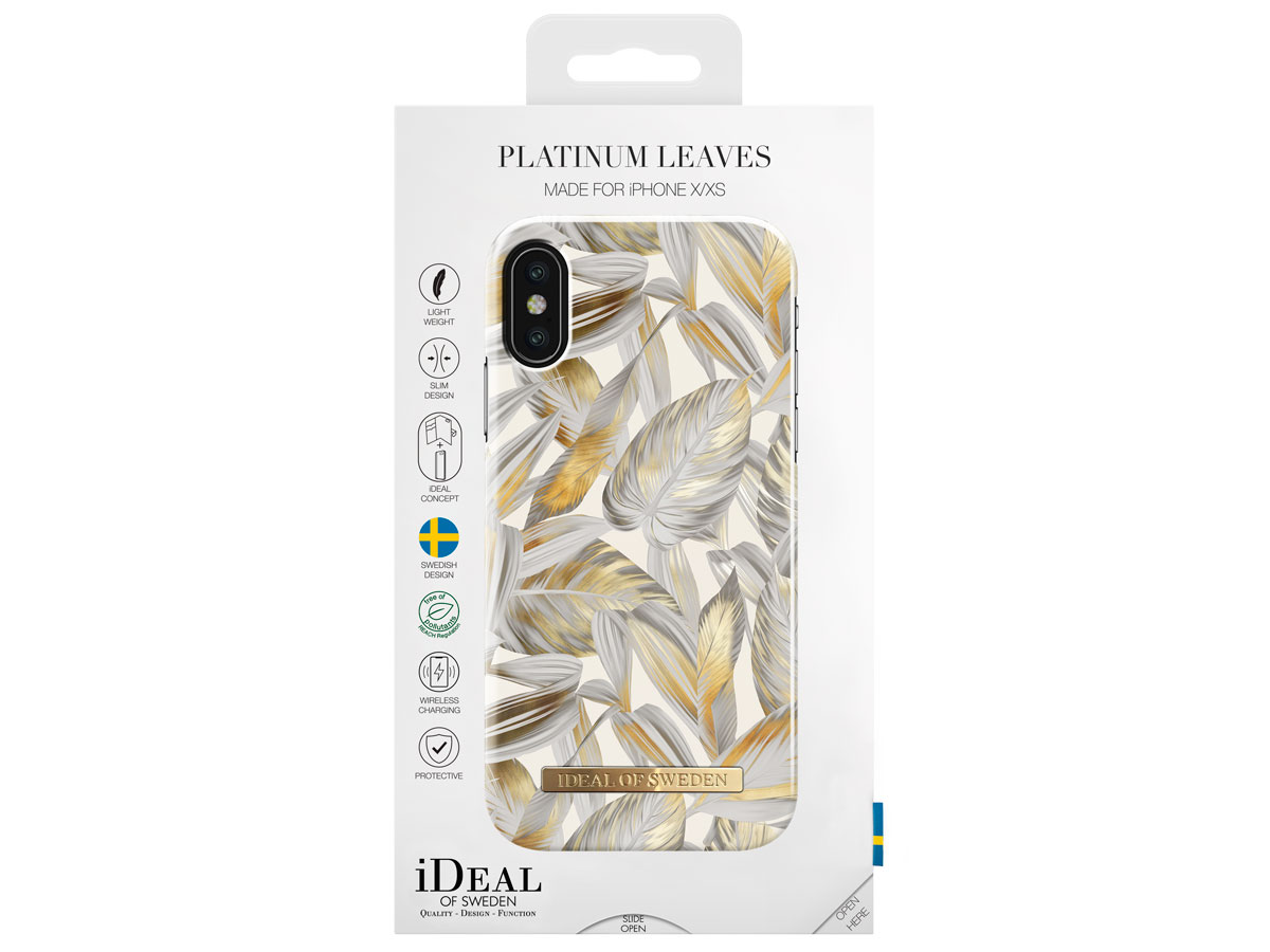 iDeal of Sweden Case Platinum Leaves - iPhone X/Xs hoesje