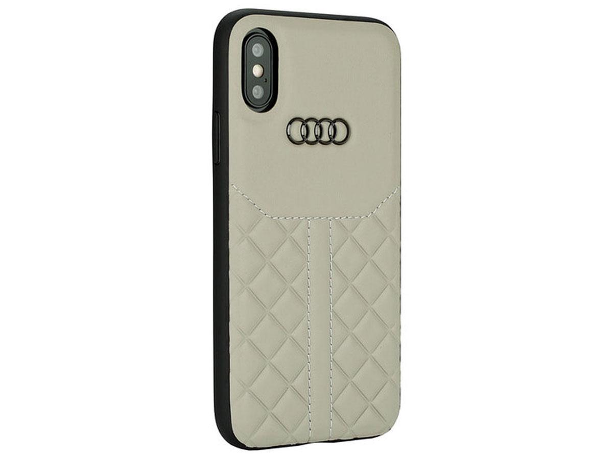 Audi Q8 Series Case Beige Leer - iPhone Xs Max hoesje