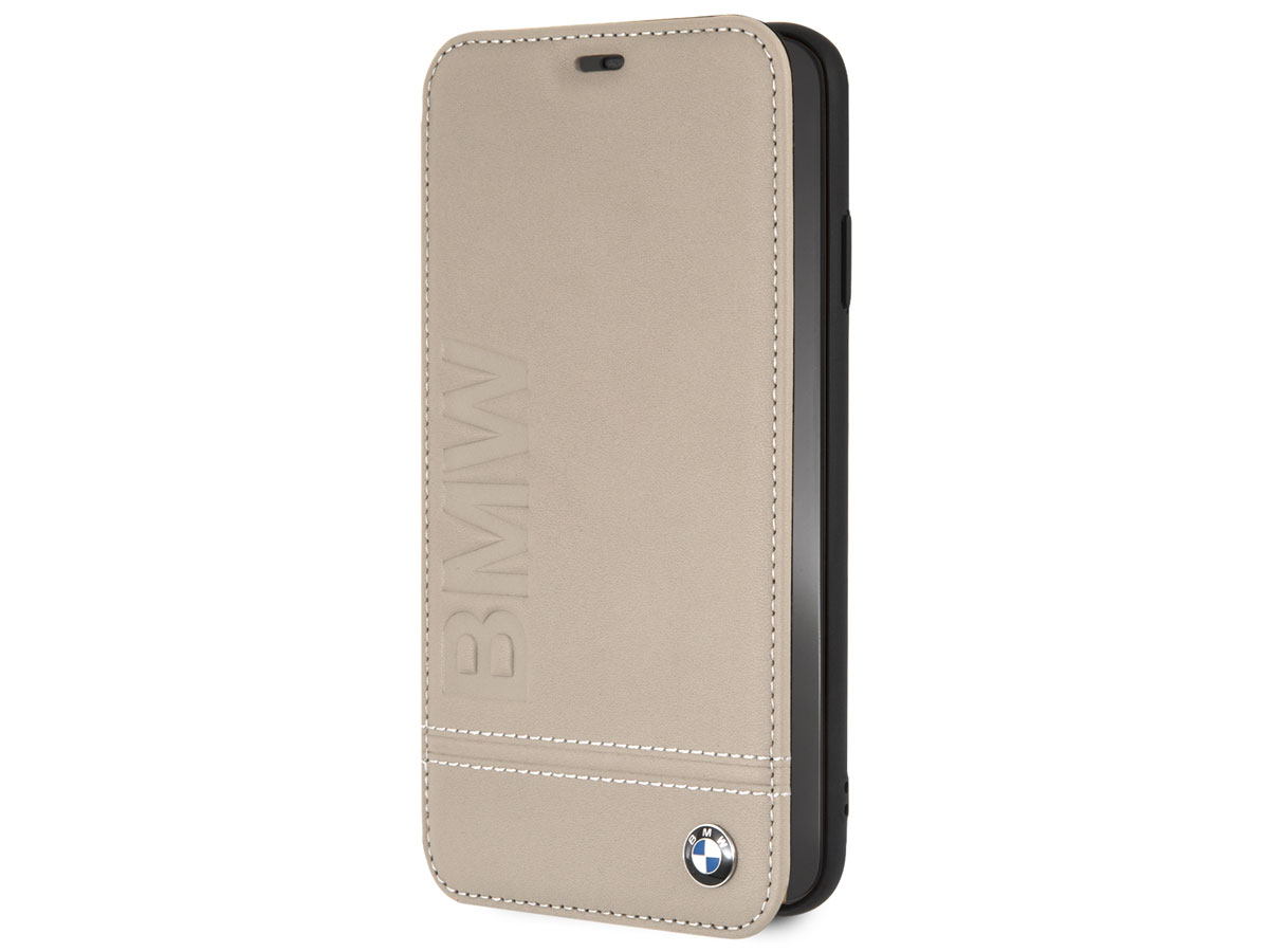 BMW Logo Leather Folio Beige Leer - iPhone Xs Max hoesje