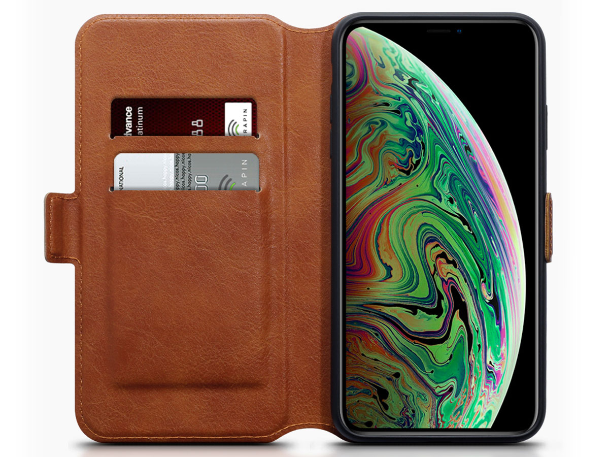 CaseBoutique Wallet Cognac Leer - iPhone Xs Max hoesje