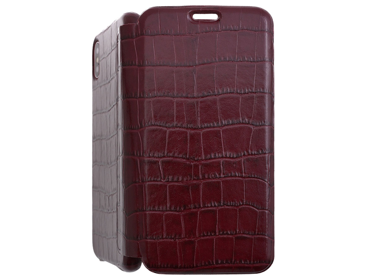 Graffi Oyster Croco Bordeaux Leer - iPhone Xs Max case Bordeaux (Croco)