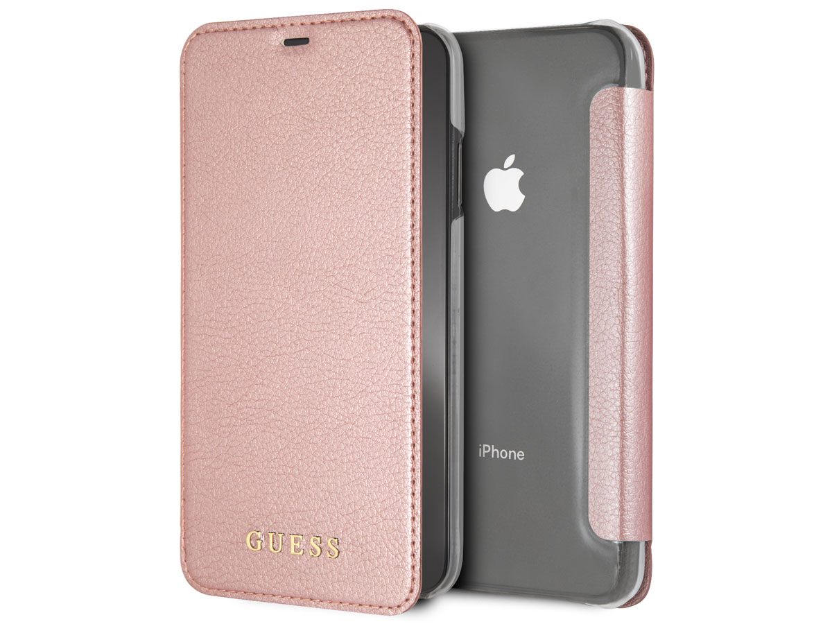 buy popular 0e4db a0969 Guess Iridescent Bookcase Rosé - iPhone Xs Max Hoesje
