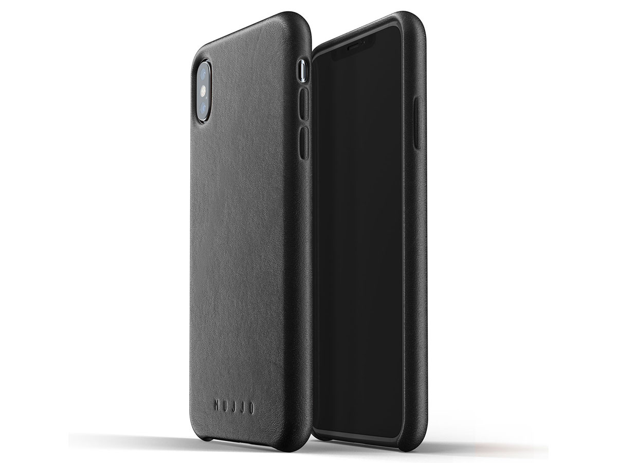 Mujjo Full Leather Case Black - iPhone Xs Max hoesje Zwart