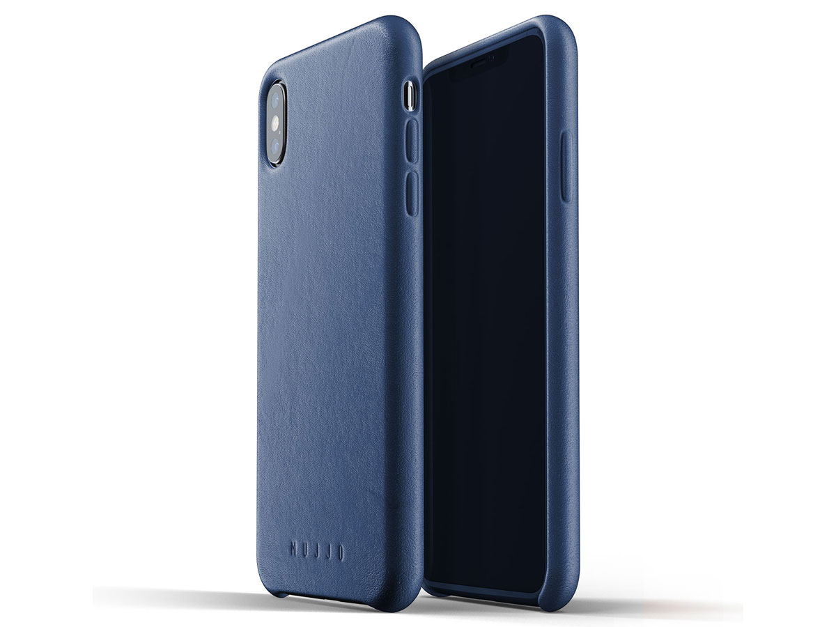 Mujjo Full Leather Case Blauw - iPhone Xs Max hoesje